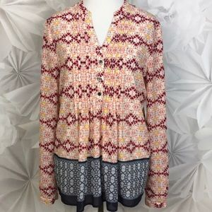 Anthropologie Long sleeve patterned blouse